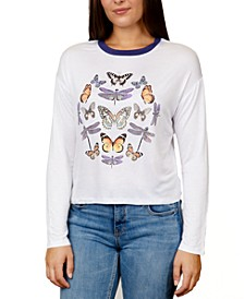 Juniors' Butterfly Graphic Ringer T-Shirt
