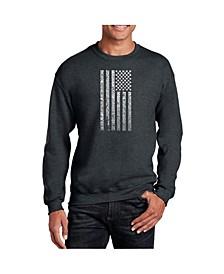 Men's Word Art National Anthem Flag Crewneck Sweatshirt