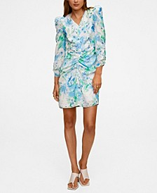 Women's Ruched Detail Flower Dress