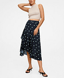 MANGO Women's Polka Dots Midi Skirt