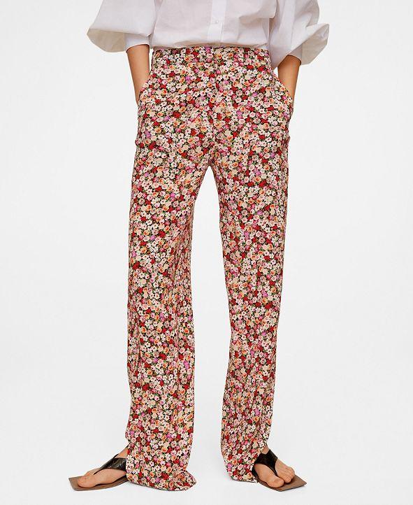 MANGO Women's Flower Print Pants