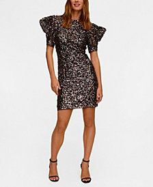 MANGO Women's Puffed Sleeves Sequined Dress