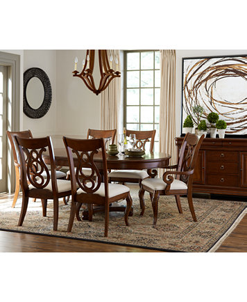 Bordeaux Pedestal Round 7-Pc. Dining Room Set (Dining Table, 4 ...