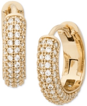 KATE SPADE GOLD-TONE SMALL PAVE HUGGIE HOOP EARRINGS, 0.62""
