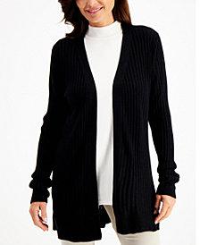 Karen Scott Rib-Knit Open Cardigan, Created for Macy's