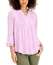 Double-Ruffle Textured Pintuck Top, Created for Macy's