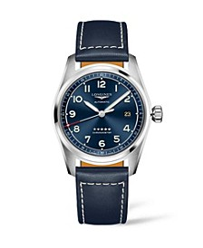 Men's Automatic Spirit Stainless Steel Chronometer Blue Leather Strap Watch 40mm