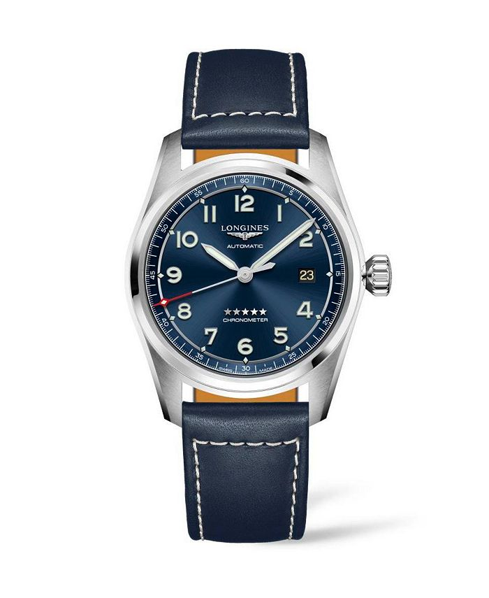 Longines - Men's Automatic Spirit Stainless Steel Chronometer Blue Leather Strap Watch 40mm