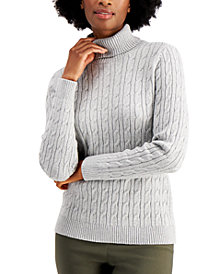 Charter Club Cable-Knit Metallic Turtleneck Sweater, Created for Macy's