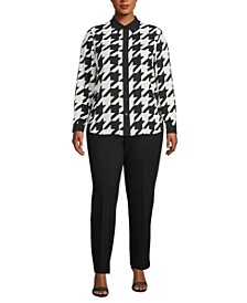 Plus Size Houndstooth Button-Down Blouse