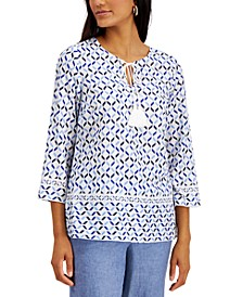 Cotton Printed Tie-Neck Top, Created for Macy's