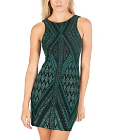 Juniors' Cutout-Back Glitter Sheath Dress