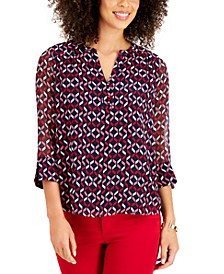 Petite Printed Spit-Neck Top, Created for Macy's
