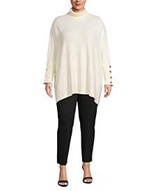 Plus Size Boucle Dropped-Shoulder Sweater
