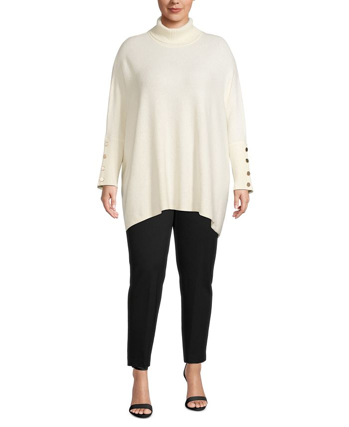 Anne Klein - Plus Size Boucle Dropped-Shoulder Sweater