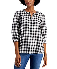 Metallic Plaid Popover Top, Created for Macy's