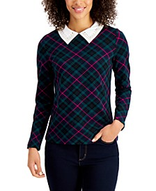 Petite Plaid Embellished-Collar Top, Created for Macy's