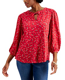 Cotton Puff-Sleeve Peasant Top, Created for Macy's