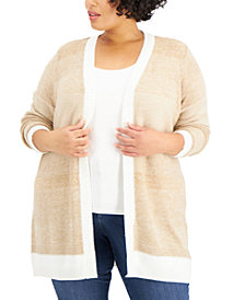 Karen Scott Plus Size Textured Open-Front Cardigan, Created for Macy's