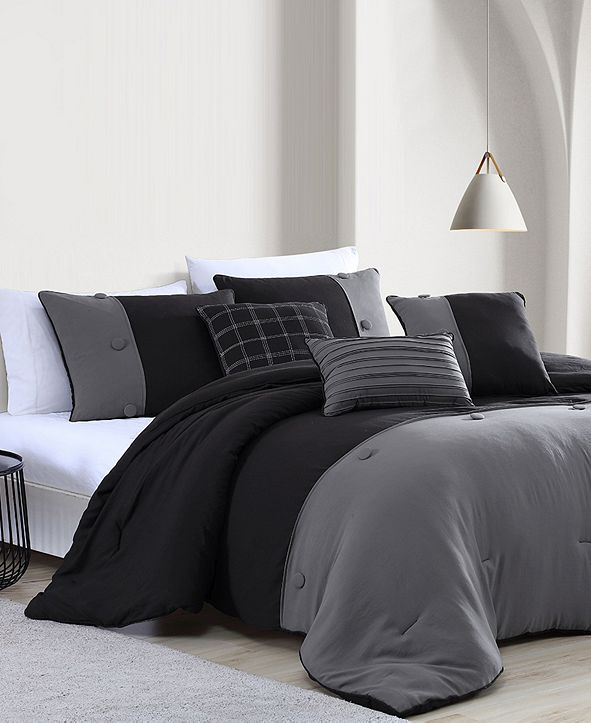 Onyx House Tillman Enzyme 6 Piece Color Block Comforter Set, King