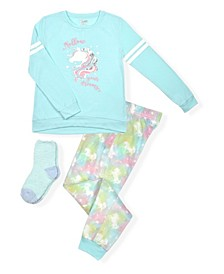 Big Girls Tie Dye Print Minky Fleece Pajama Set, 3 Piece