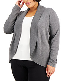 Karen Scott Plus Size Curved Shawl-Collar Cardigan, Created for Macy's