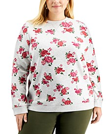 Plus Size Floral-Print Sweatshirt, Created for Macy's