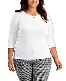 Plus Size Strappy 3/4-Sleeve Cotton Top, Created for Macy's