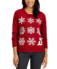 Sequined Snowflake Sweater, Regular & Petite Sizes, Created for Macy's