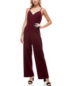 Juniors' Ladder-Trim Surplice-Neck Jumpsuit