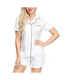 Women's Short Sleeve Notch Collar Pajama Top and Short Set