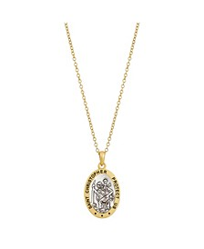 Two-Tone Gold Flash Plated St. Christopher Oval Pendant Necklace