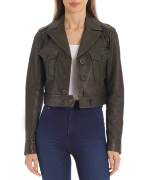 Avec Les Filles Leathers CROPPED LEATHER TRUCKER JACKET