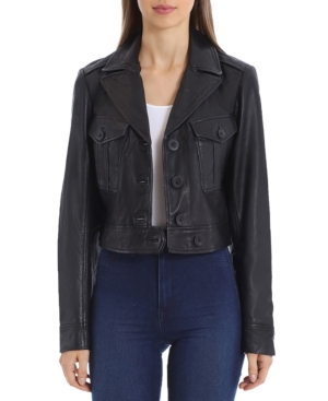 1930s Style Coats, Jackets | Art Deco Outerwear Avec Les Filles Cropped Leather Trucker Jacket $299.00 AT vintagedancer.com