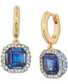 Gold-Tone Pavé & Square Crystal Drop Earrings