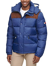 Men's Mixed Media Nylon and Corduroy Quilted Puffer Jacket, Created for Macy's