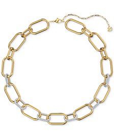 "Two-Tone Pavé Link Collar Necklace, 15-5/8"" + 2"" extender"