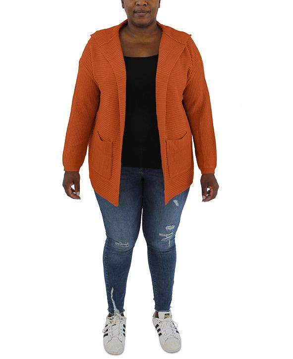 FULL CIRCLE TRENDS Trendy Plus Size Hooded Sweater