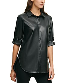 Plus Size Faux-Leather Button-Down Boyfriend Tunic Top