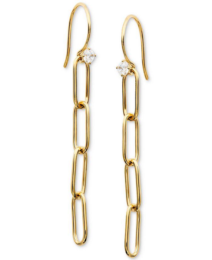 AVA NADRI - Cubic Zirconia Oval Link Linear Drop Earrings