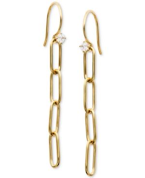 Cubic Zirconia Oval Link Linear Drop Earrings