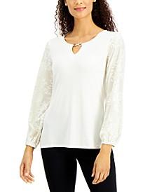 Embellished Velvet-Sleeve Top, Created for Macy's