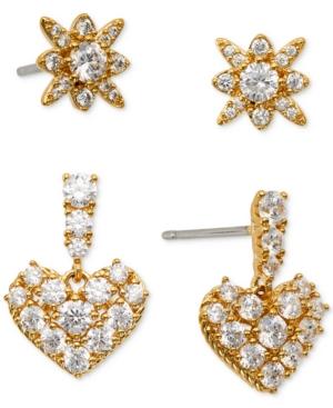 2-Pc. Set Cubic Zirconia Star & Heart Stud Earrings
