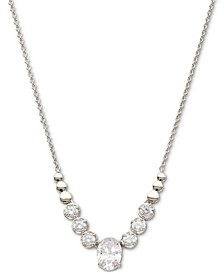 """Silver-Plated Cubic Zirconia Statement Necklace, 15"""" + 3"""" extender, Created for Macy's"""