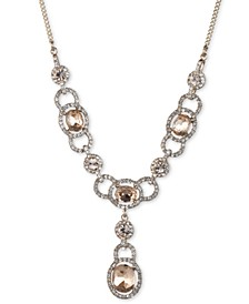 """Stone & Crystal Lariat Necklace, 16"""" + 3"""" extender"""