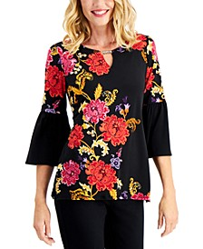 Floral-Print Bell-Sleeve Keyhole Tunic Top, Created for Macy's