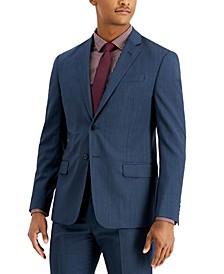 Men's Modern-Fit Blue Allover Pin-Dot Suit Separate Jacket