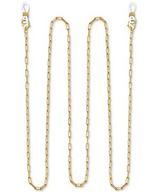 """Rectangle Link 25"""" Glasses or Face Mask Chain in Fine Silver or Gold Plate"""