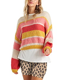 Juniors' Soft Wind Striped Cropped Sweater