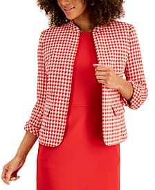 Tweed Houndstooth Open-Front Jacket